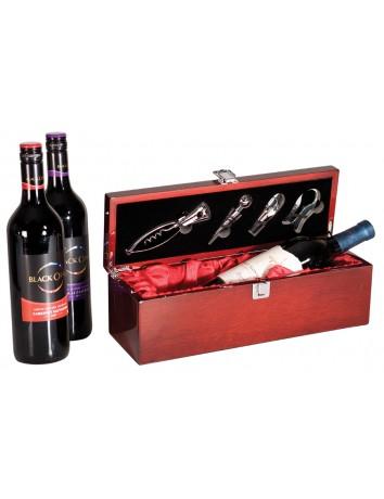 Single Wine Bottle Presentation Box High Gloss Piano Finish & Tools
