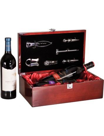 Double Wine Bottle Presentation Box High Gloss Piano Finish & Tools