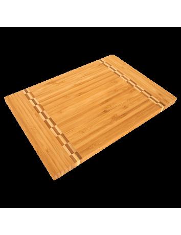 Bamboo Cutting Board with Butcher Block Inlay