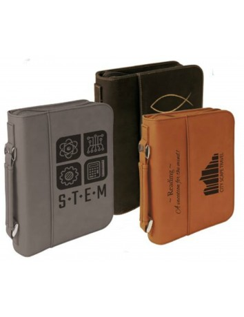 Leatherette Book Cover with Zipper