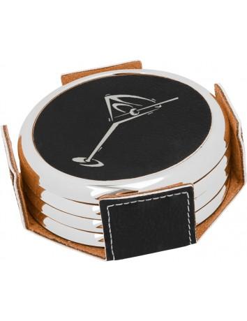 Leatherette Round Coaster Set with Metallic Edge