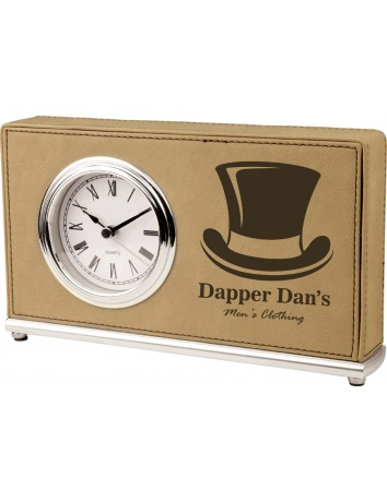 Leatherette Rectangle Desk Clock