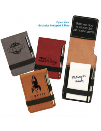 Leatherette Pocket Notepad and Pen