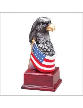 Eagle Head on Flag - Hand-painted