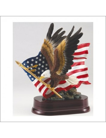 Eagle in Flight with Flag