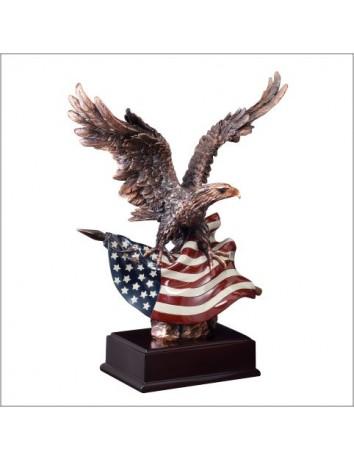 Eagle Landing on Flag