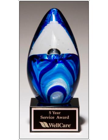 Glass Art Blue Egg