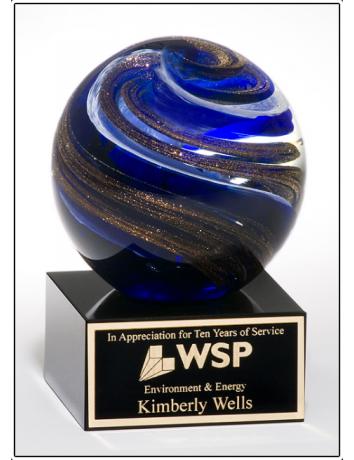 Glass Art Blue & Gold Sphere