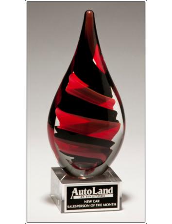 Glass Art Red & Black Helix Teardrop