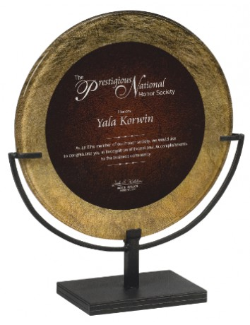 Circle Gold Acrylic Art Plaque with Iron Stand