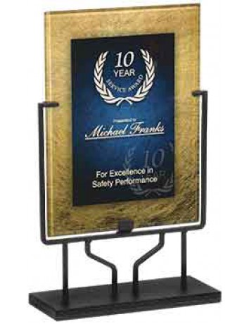 Rectangle Gold/Blue Acrylic Art Plaque with Iron Stand