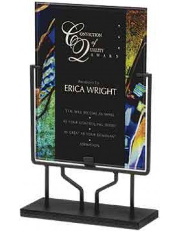 Blue Acrylic Art Plaque with Iron Stand