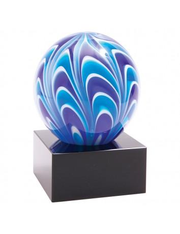 Glass Art Blue & White Sphere