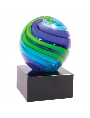 Glass Art Blue & Green Sphere